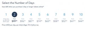 公式サイトチケット価格一覧 出展: https://disneyworld.disney.go.com/tickets/