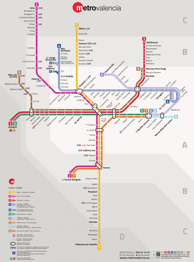 バレンシアメトロの路線図